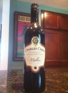 "2007 Charles Creek Malbec, note screw cap,no ""taint"" here"