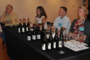 Tasting at winery with panel of 3 winemakers, including one from Burgundy, France, IPNC