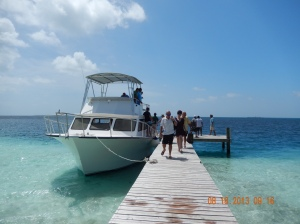 We arrive at the dock on Sanctuary Caye