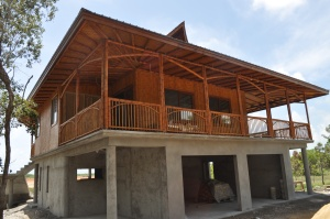 The Bamboo House in construction
