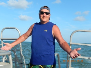 Me on the boat to Sanctuary Belize.. The adventure begins