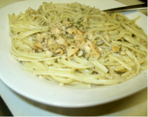 Try the plate of linguini & fresh clams with a bottle of crisp Pinot Grigio, and see where the evening takes you?